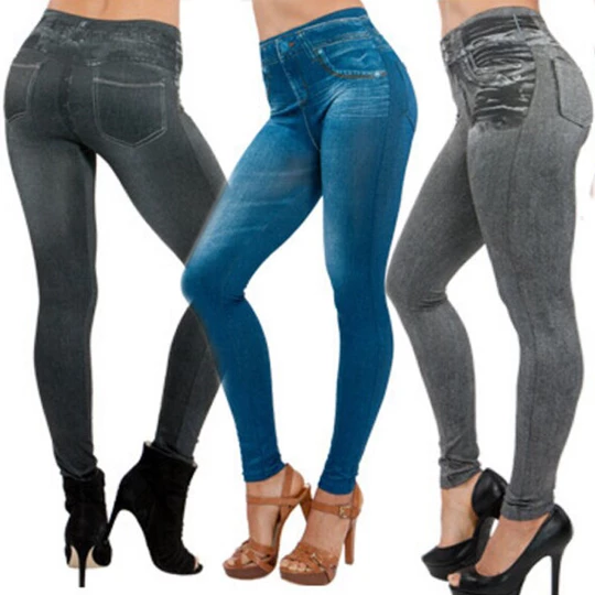 Blue Womens Slim Fit Stretchy Denim Look Skinny Jeggings  Leggings