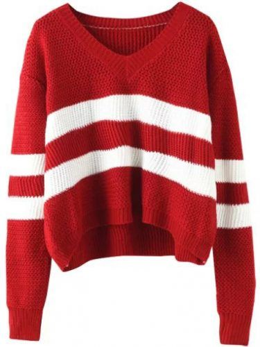 V Neck Striped Wine Red Sweater | Budget Fashion | Pinterest | Red ...
