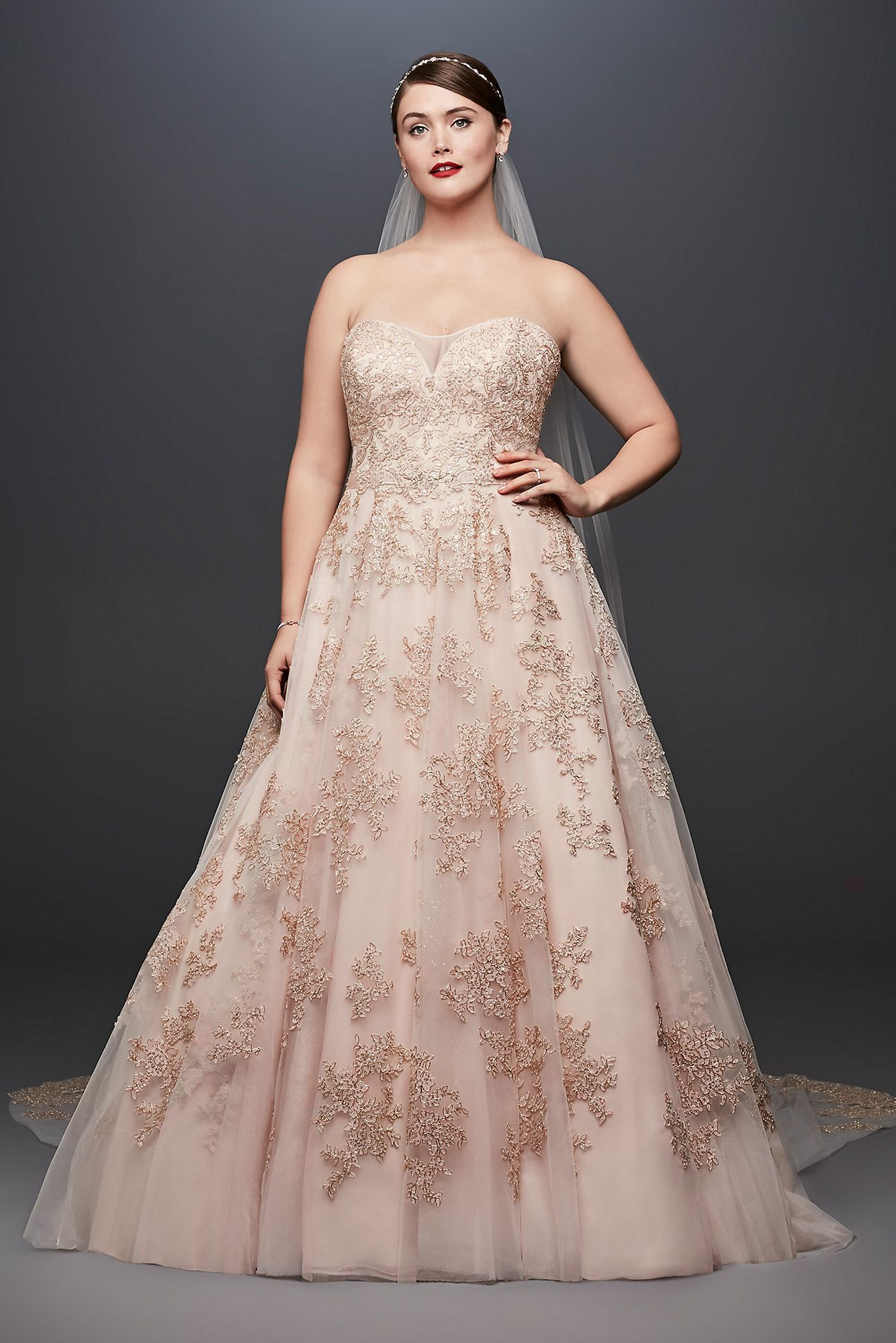 99d1bf9f4fd Rose Gold A-Line Plus Size Wedding Dress Oleg Cassini style 8CWG767 ...