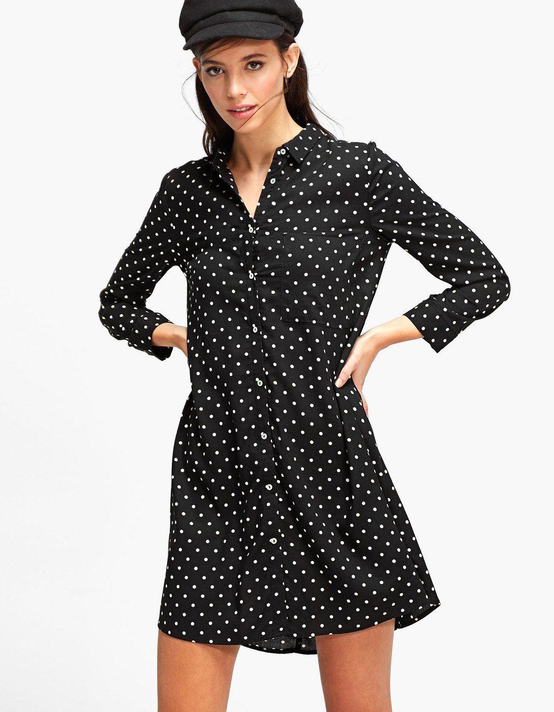 531fc55954e Printed shirt dress with 3 4 length sleeves - Dresses