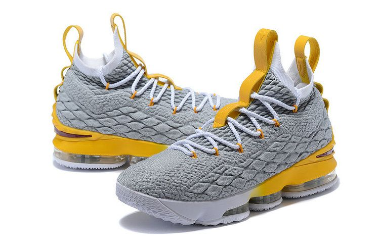 22e984d26bd 2018 Buy 2018 Nike LeBron 15 XV Grey Yellow-White Basketball Shoes ...