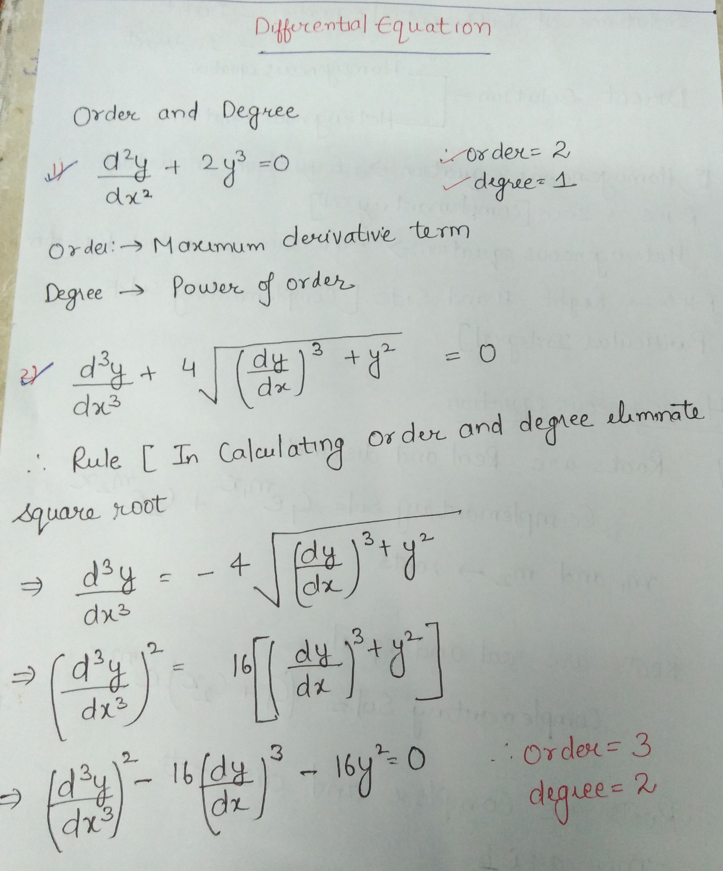 Order And Degree Mathematics