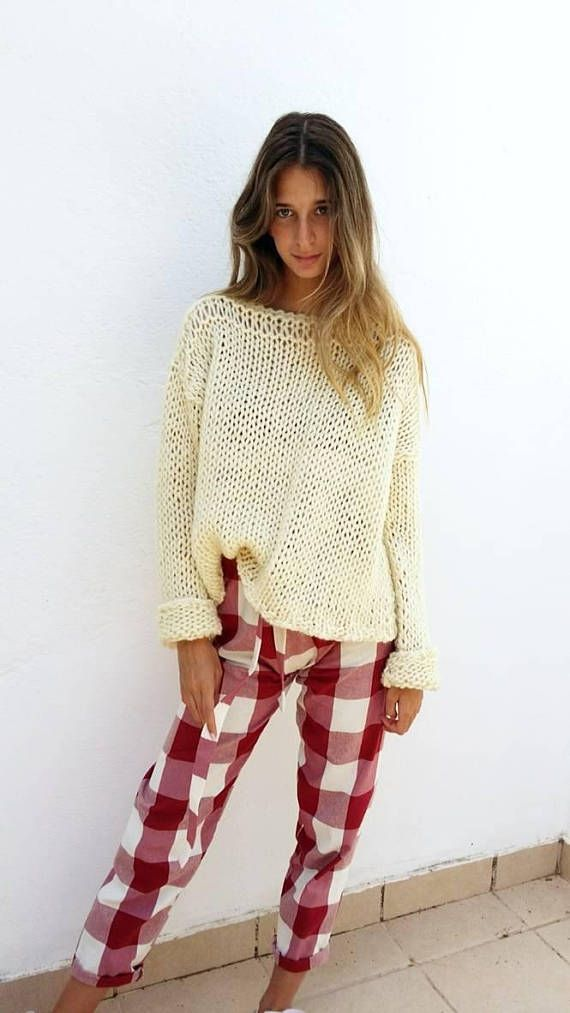 Chunky cream sweater, women sweater, ivory knit sweater, women knit ...