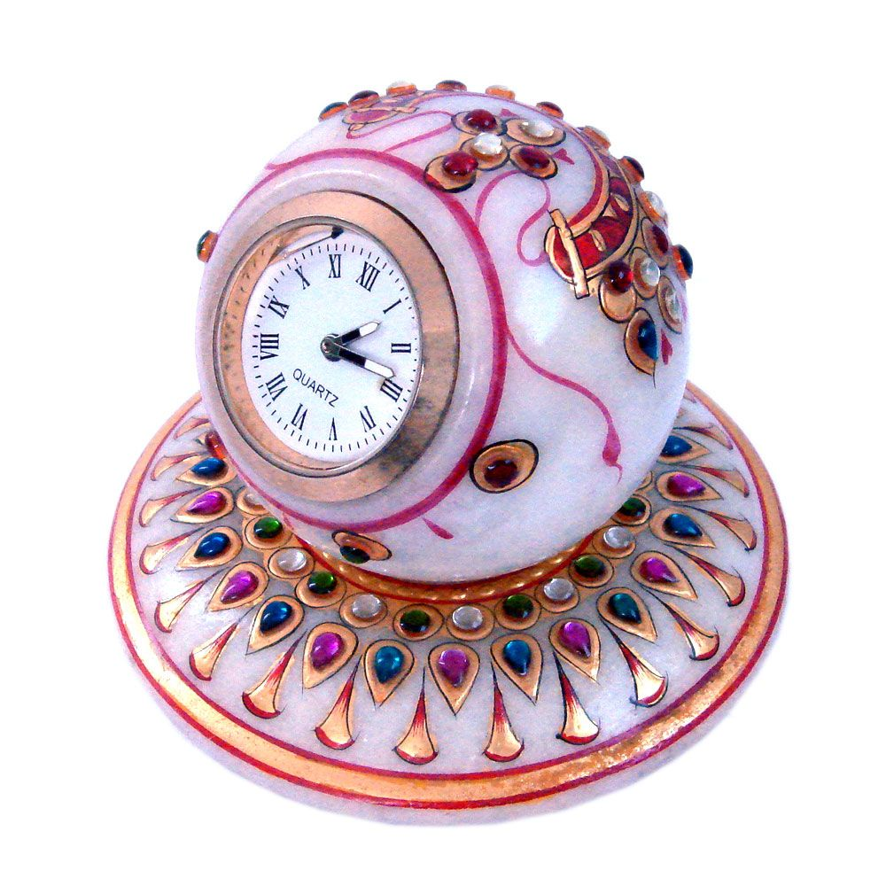 Home Decor Items Gold Painted Handmade Round Marble Table Clock Decorative Handicraft Available At Discounted Price