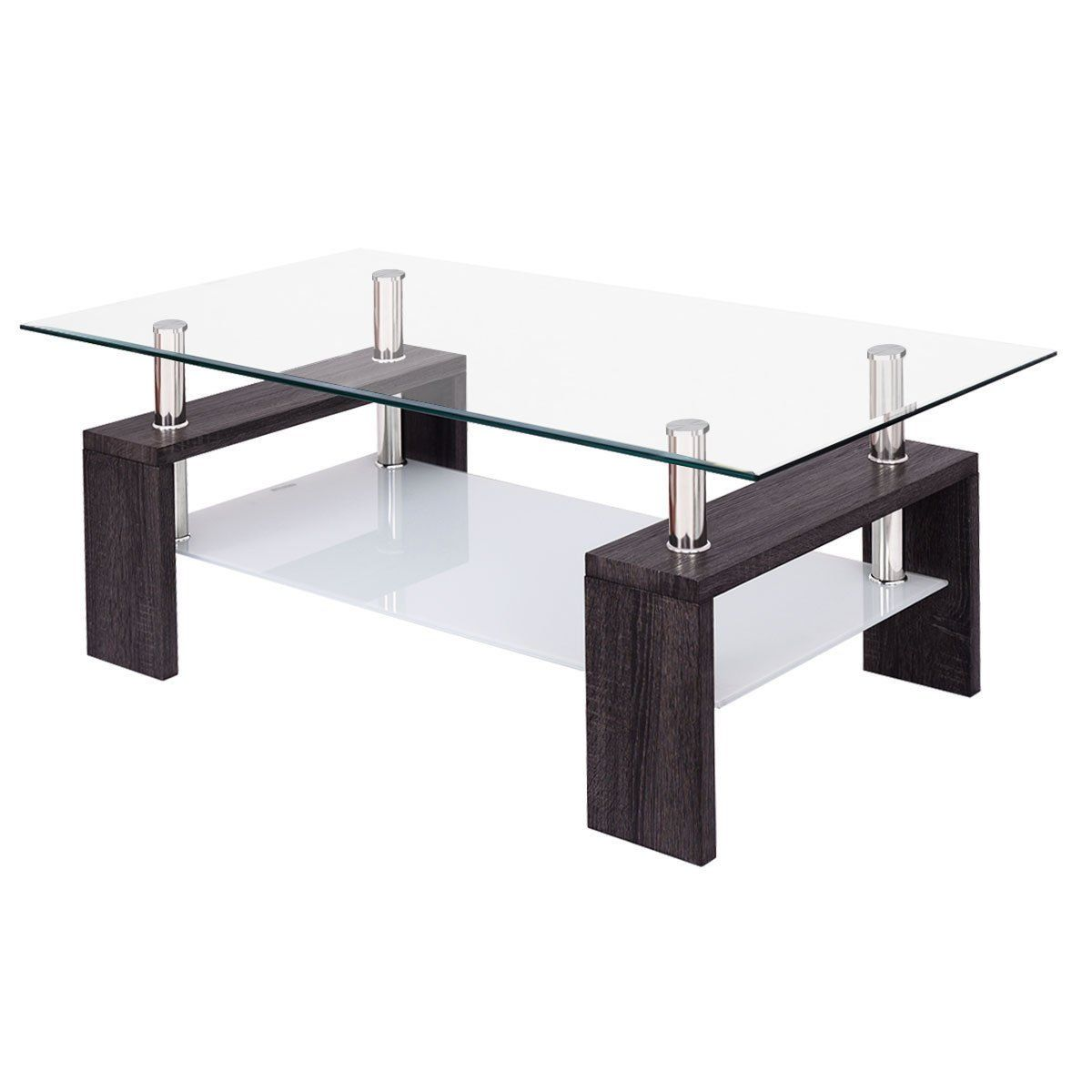 Contemporary Coffee Table W Shelf Rectangular Wood Living Room Furniture Modern Clear Glass T Coffee Table Contemporary Coffee Table Wood Furniture Living Room [ 1200 x 1200 Pixel ]