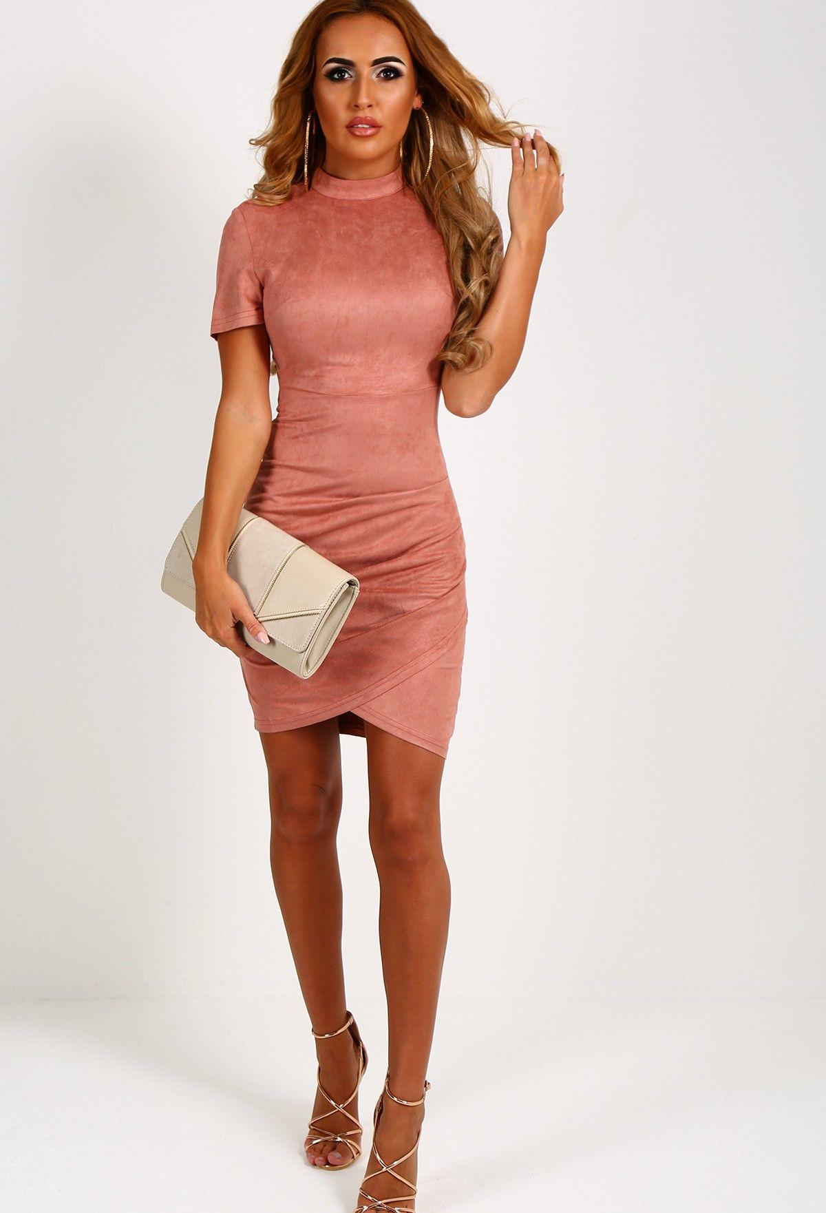 b52eb89f8d8b Alessandra Blush Pink Faux Suede Mini Dress Blush Pink