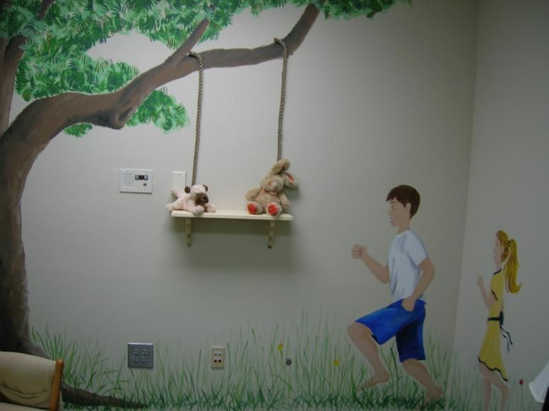 Idea cute bookshelf to add to tree mural in playroom Kiddos