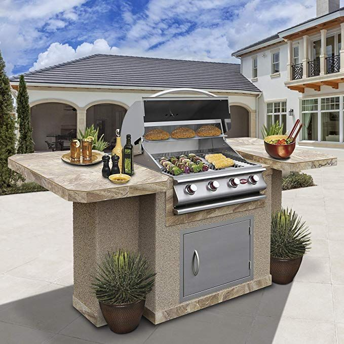 amazon com cal flame bistro 404 outdoor kitchen island with 6 person bar and 4 burner built in on outdoor kitchen island id=81624