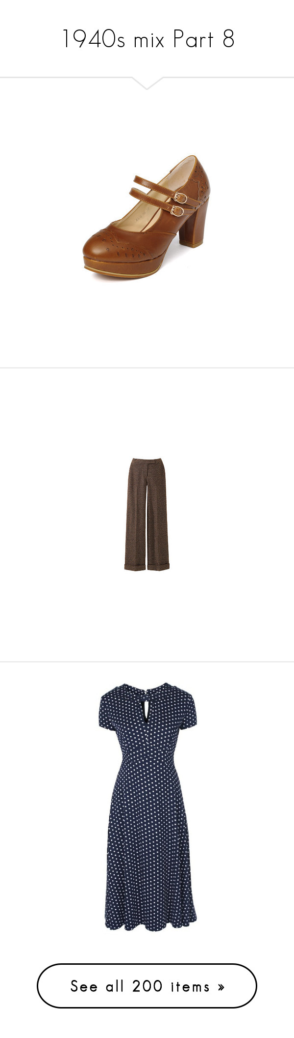 """""""1940s mix Part 8"""" by leanne-mcclean ❤ liked on Polyvore featuring shoes, heels, footware, brown mary jane shoes, brown shoes, brown platform shoes, chunky heel shoes, wide heel shoes, pants and bottoms"""