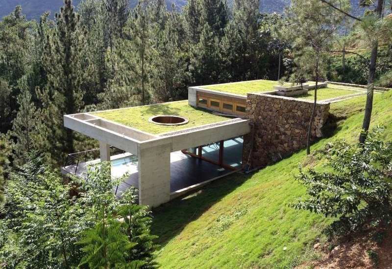 maison bio climatique dans la for t avec toit terrasse. Black Bedroom Furniture Sets. Home Design Ideas