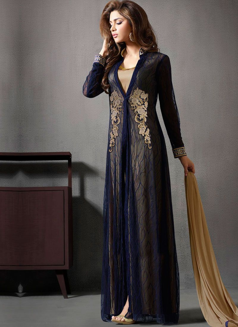 Navy blue cream embroidery work net santoon designer anarkali suit