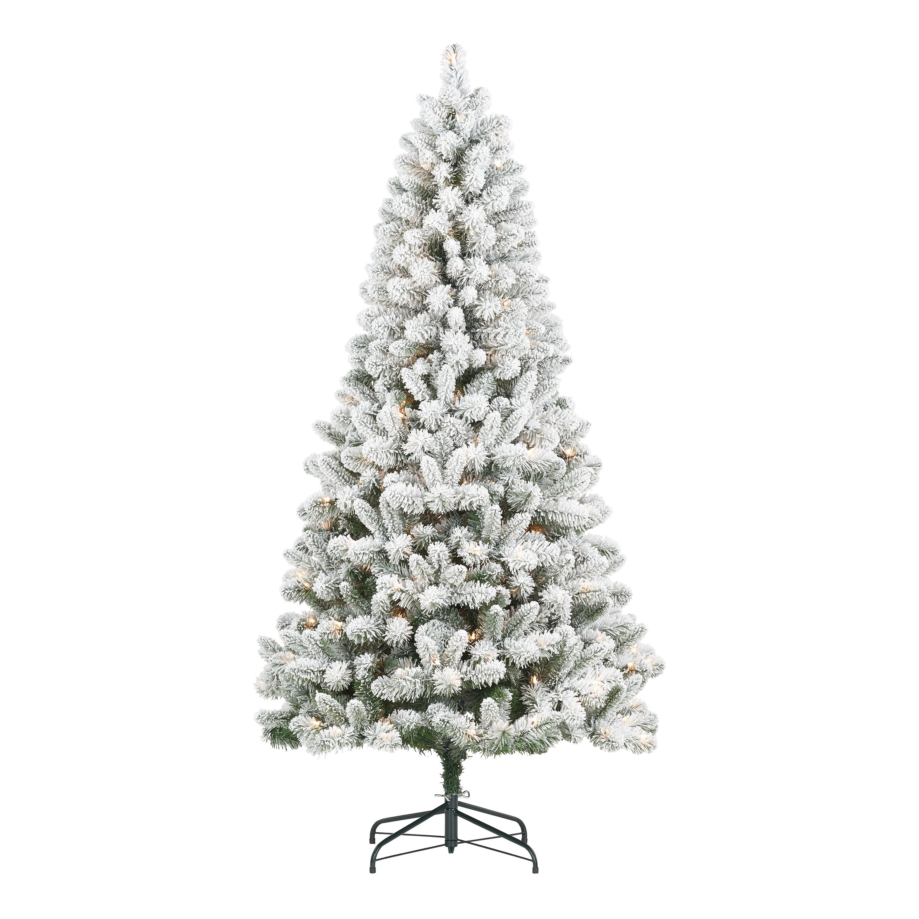 Holiday Time Pre Lit Flocked Frisco Pine Christmas Tree 6 5 Clear Walmart Com In 2020 Flocked Christmas Trees Pine Christmas Tree Christmas Tree
