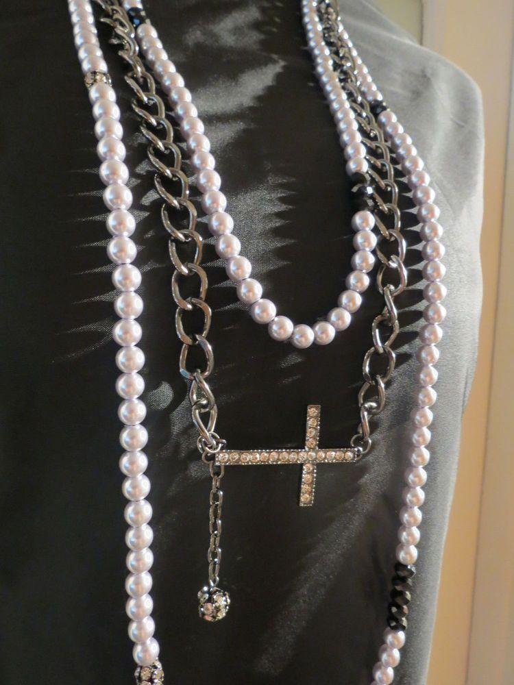 Nwt Black Silver Beaded Sideways Cross Rhinestone Necklace Earring