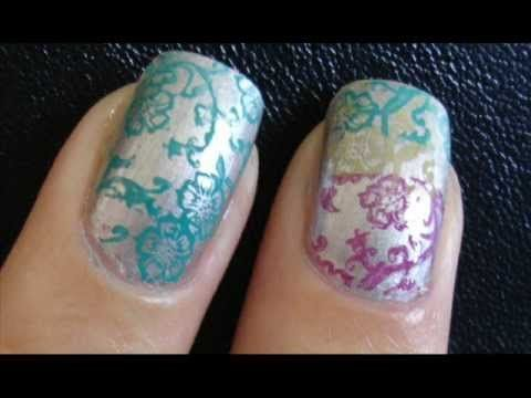 H2 Stamp 3 Colours With Red Angel Plate Nail Art Pinterest