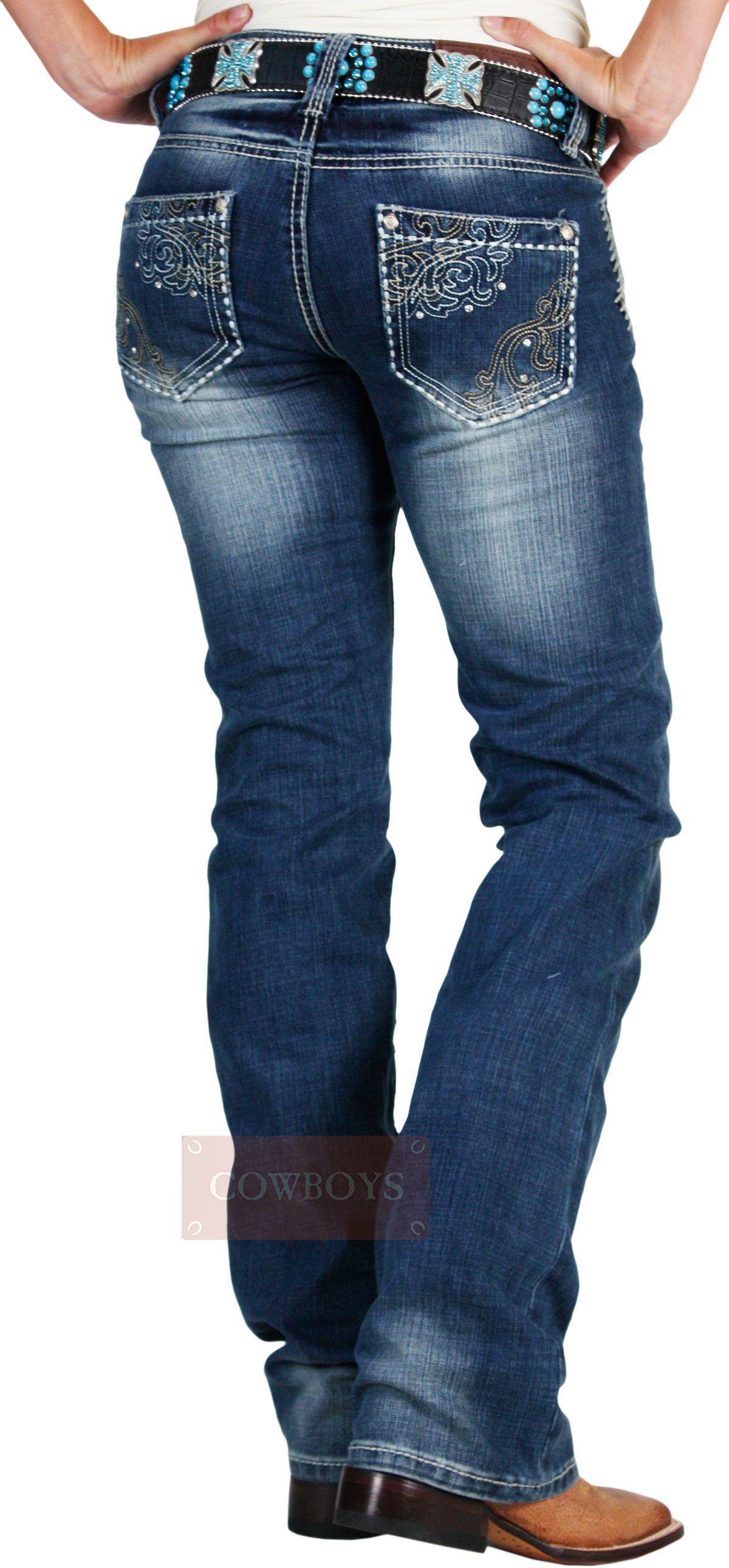 Calça Cowgirl Up Feminina Importada Bolso Bordado com Strass Azul Stonada  Calça jeans feminina da marca 7d2f5424dbd