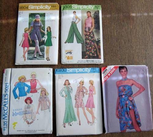 Lot of 5 Vintage 70s Patterns $8.84