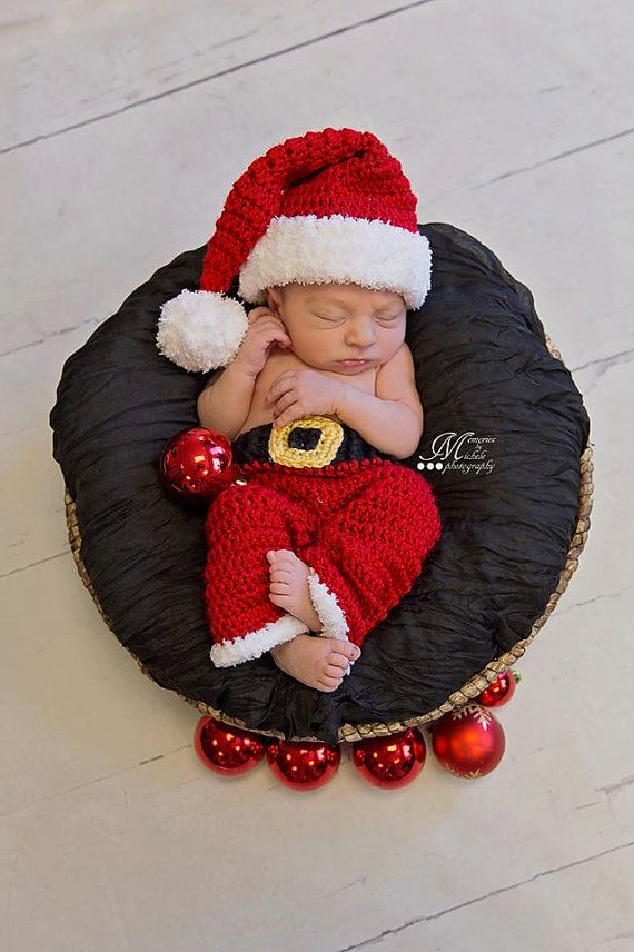 10c93b26f58 CROCHET PATTERN Newborn Christmas Santa Hat and Pants Photo Prop Outfit for  Baby Boy s First Christmas Newborn Photo Shoot by AMKCrochet
