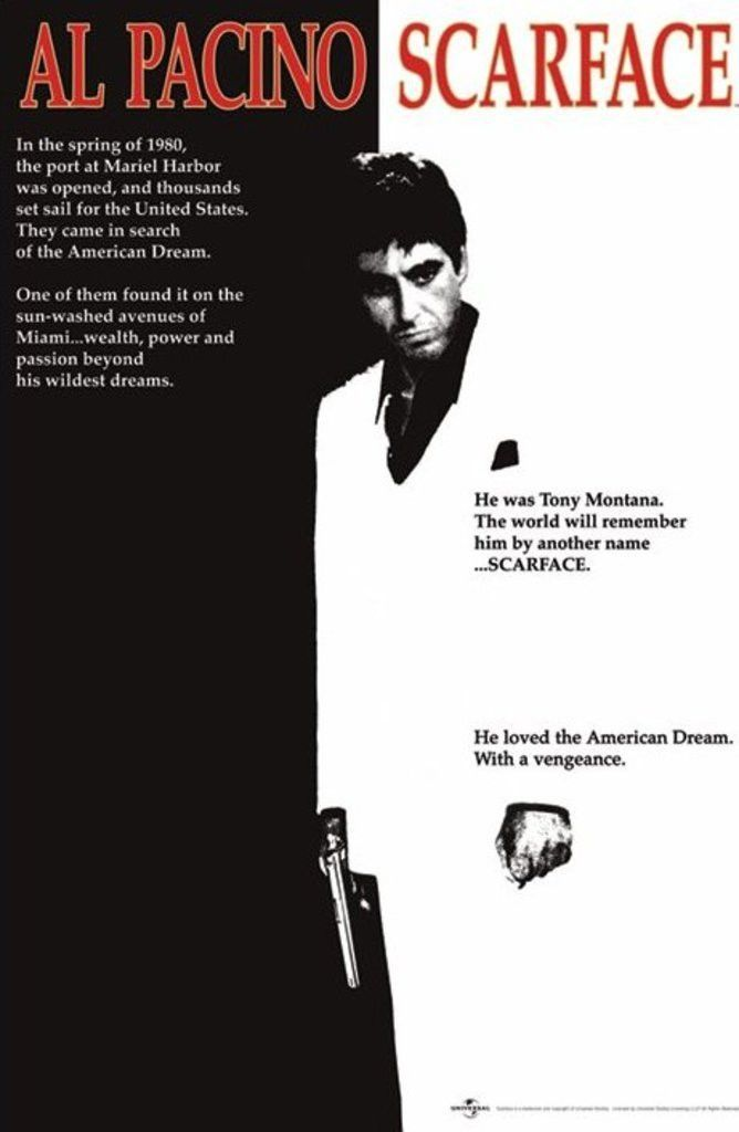 Scarface Al Pacino One Sheet Official Poster Official Merchandise Size 61cm X 91 5cm Free Shipping Scarface Movie Movie Posters Scarface Poster