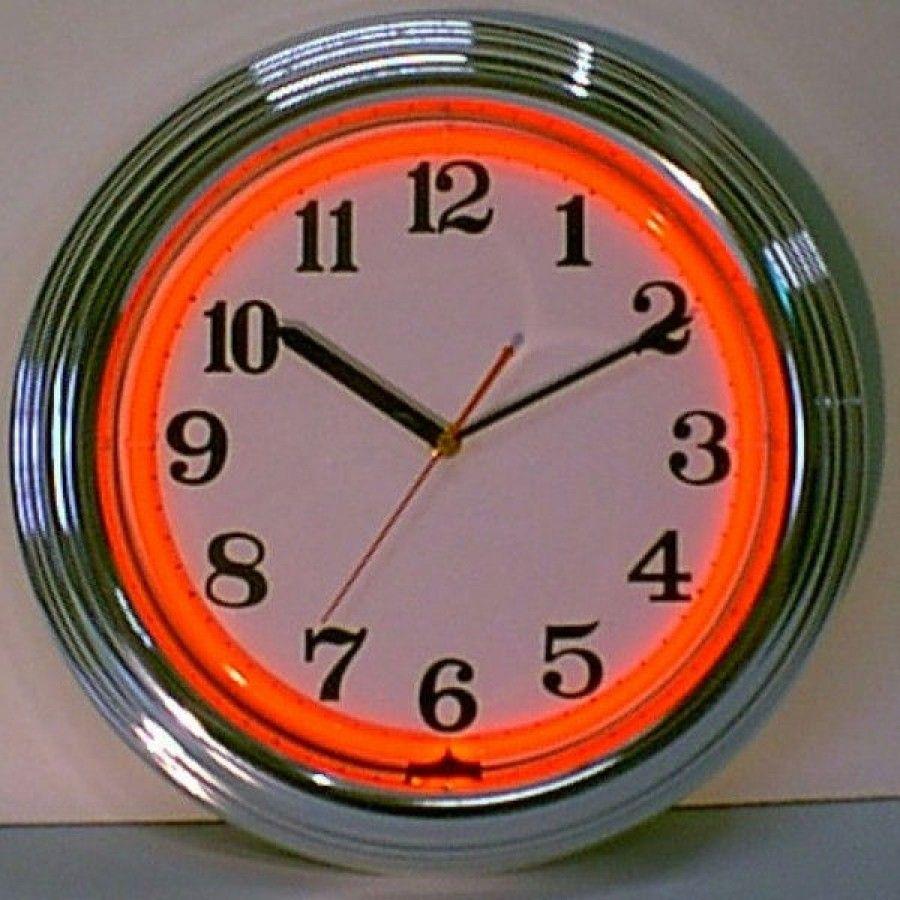 Chrome Orange Neon Clock Chrome Orange Neon