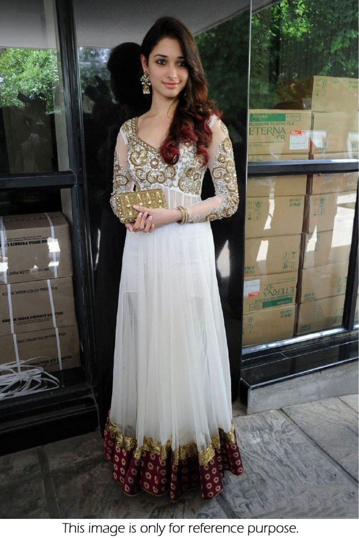 Bollywood style tamanna bhatia georgette and velvet anarkali suit in