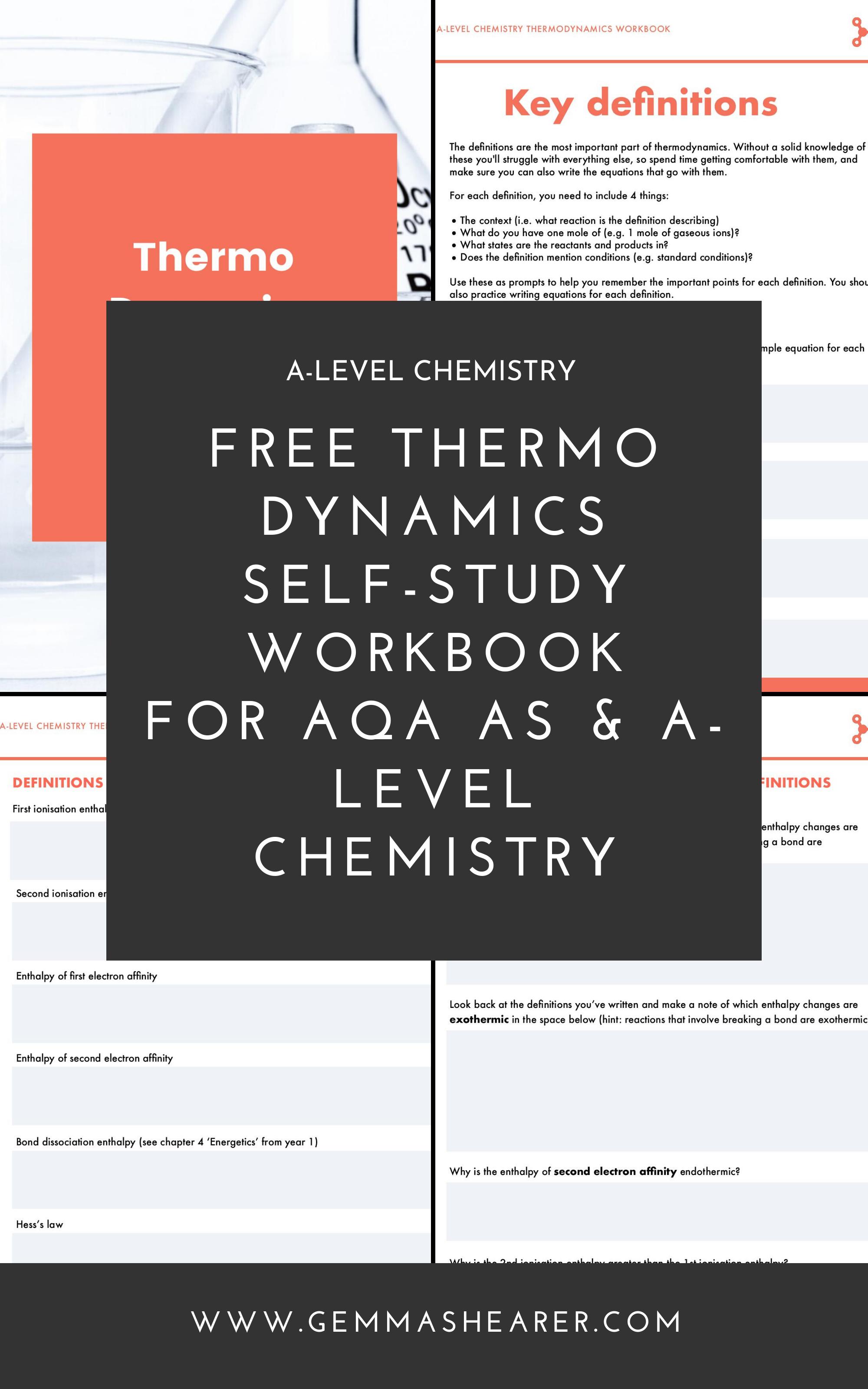 Free A Level Chemistry Thermodynamics Self Study Workbook