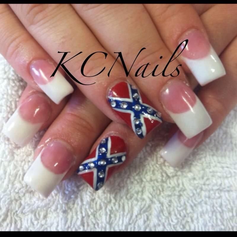 Confederate flag acrylic nails, pink and white french tips. Red, blue,  silver. Hand painted accent nail with rhinestones. KCNails - Confederate Flag Acrylic Nails, Pink And White French Tips. Red