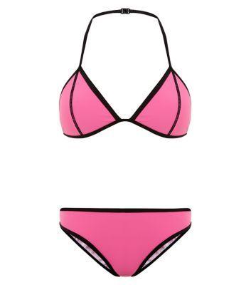 db37bcd5a3 Teens Neon Pink Colour Block Bikini Set