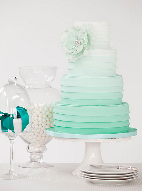 Ombre + Mint Wedding Cake