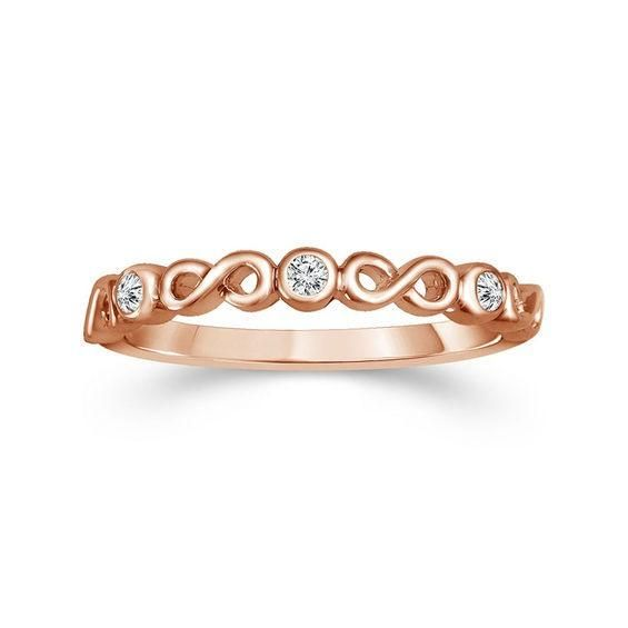Zales 1/20 CT. T.w. Diamond Five Stone Grooved Stackable Band in 10K Rose Gold K5rehjX
