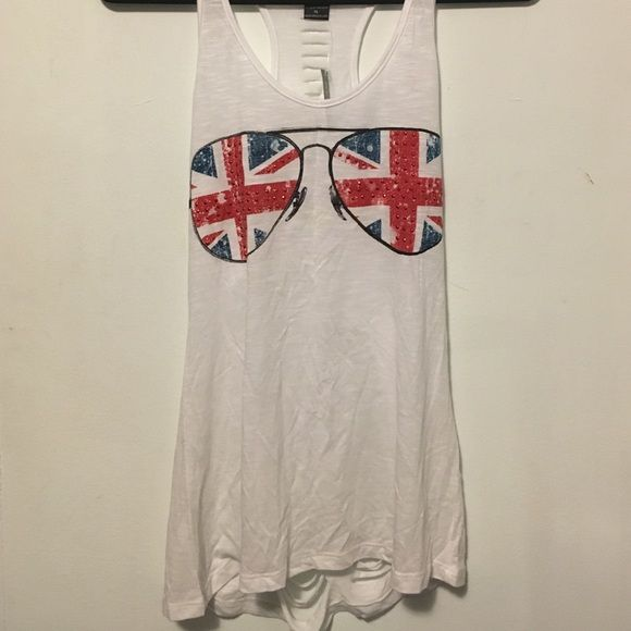Summer shirt Wet Seal. Never worn. Back has a ripped up design. Front has sunglasses with British flag and has sequins. Really cute for the summer! Wet Seal Tops Muscle Tees