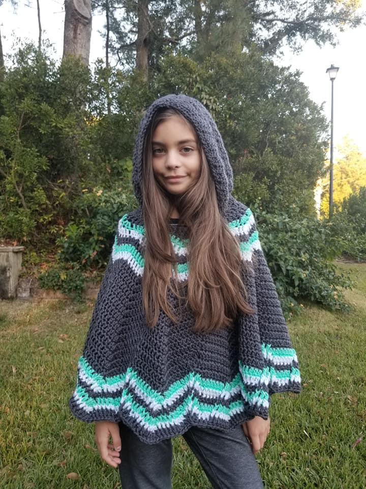 Big Mountain Poncho- free crochet poncho pattern for Children