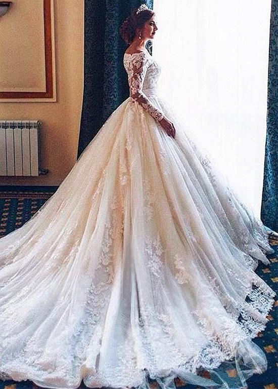 Attractive tulle off-the-shoulder neckline ball gown wedding dress with lace… - wedding dress mod