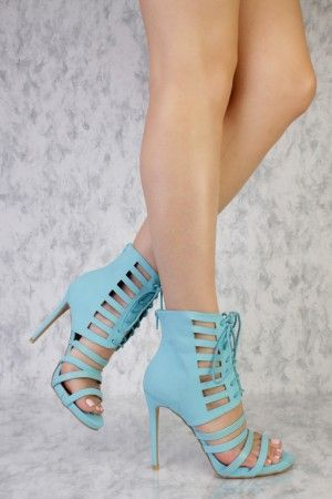 eb66d5c8364 Light Blue Strappy Cut Out Front Lace Up Peep Toe Single Sole Booties Nubuck