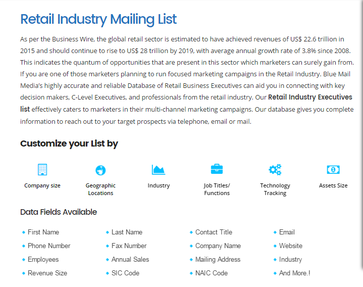 Retail Industry Email List Retail Industry Mailing List