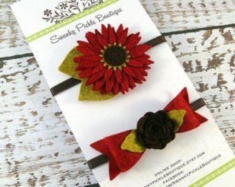 Fieltro flor diadema conjunto otoño - recién nacido - diadema - Margarita roja diadema girasol - lana flor de fieltro - fieltro arco - otoño - bebé regalos