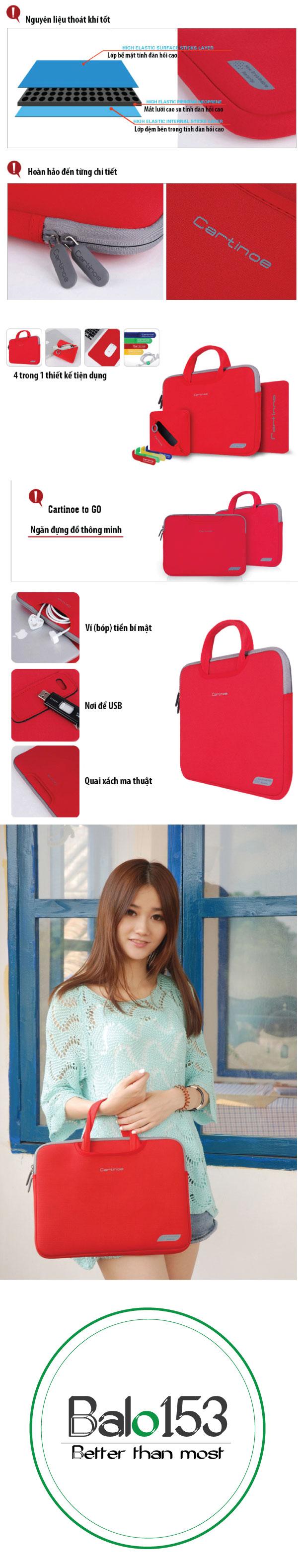 Túi xách Macbook 12 inch Cartinoe Breath Mivida019 Đỏ