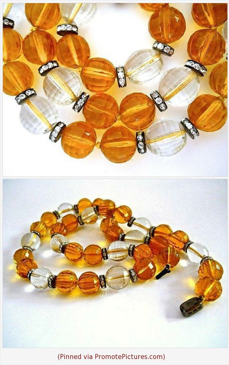 Octagonal Glass Bead Necklace and Earring Set with Gold Tone Beads 1980s