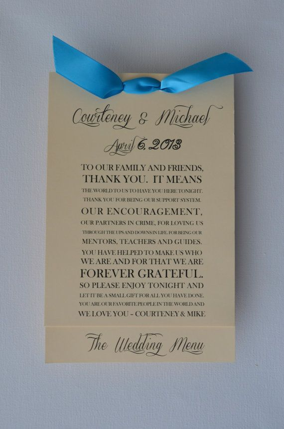 Layered Wedding Menu Card And Guest