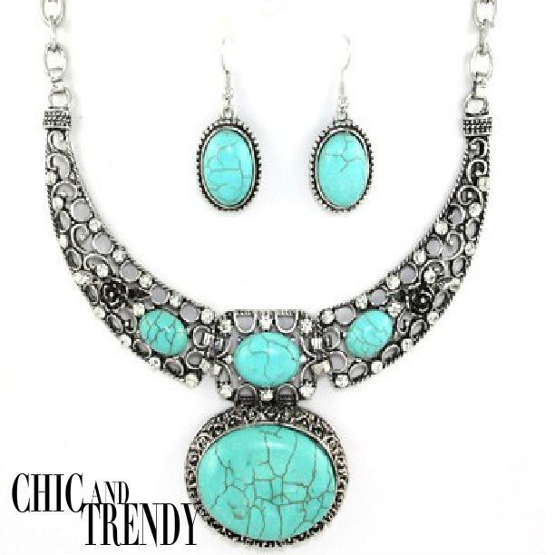 """""""WESTERN""""TURQUOISE & SILVER HIGH QUALITY CHUNKY NECKLACE SET*CHIC TRENDY CHUNKY"""
