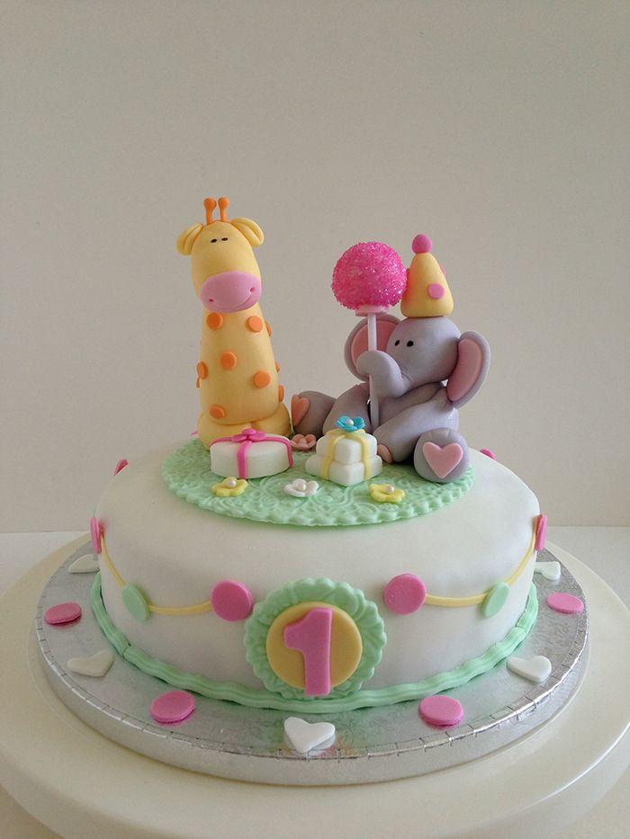 Baby Giraffe Baby Elephant 1st Birthday cake Baked Keepsakes