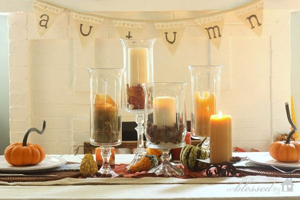 Simple Fall Tablescape with DIY Hurricane Vases   MyBlessedLife.net