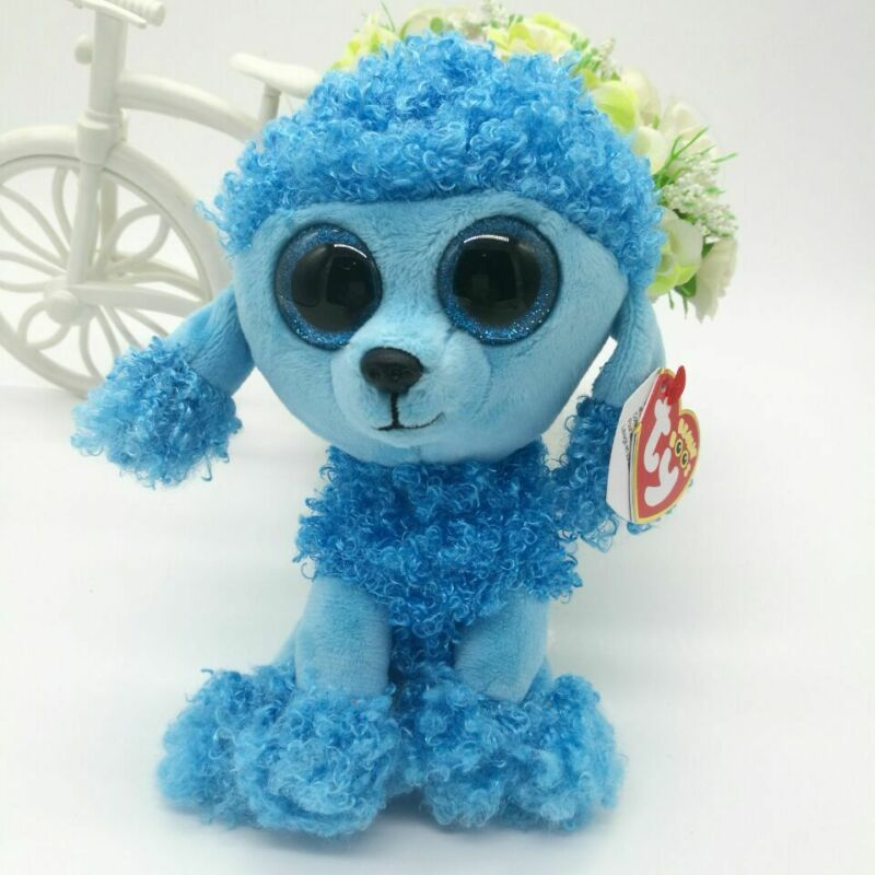 """6/"""" TY Beanie Boos Girl With tag Plush Toy Blue Poodle Dog Glitter Eyes Mandy"""