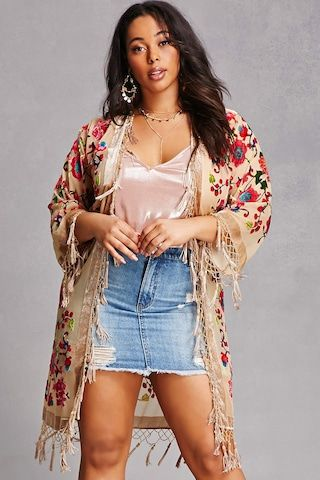 364b1c50a45 Forever 21+ - A semi-sheer woven cardigan by JayLey™ featuring an allover  velvet floral print
