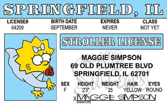 homer simpson fake drivers license