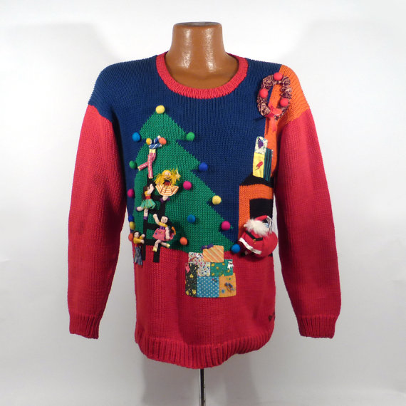 Ugly Christmas Sweater Vintage Living Room Santa 3D Holiday Tacky