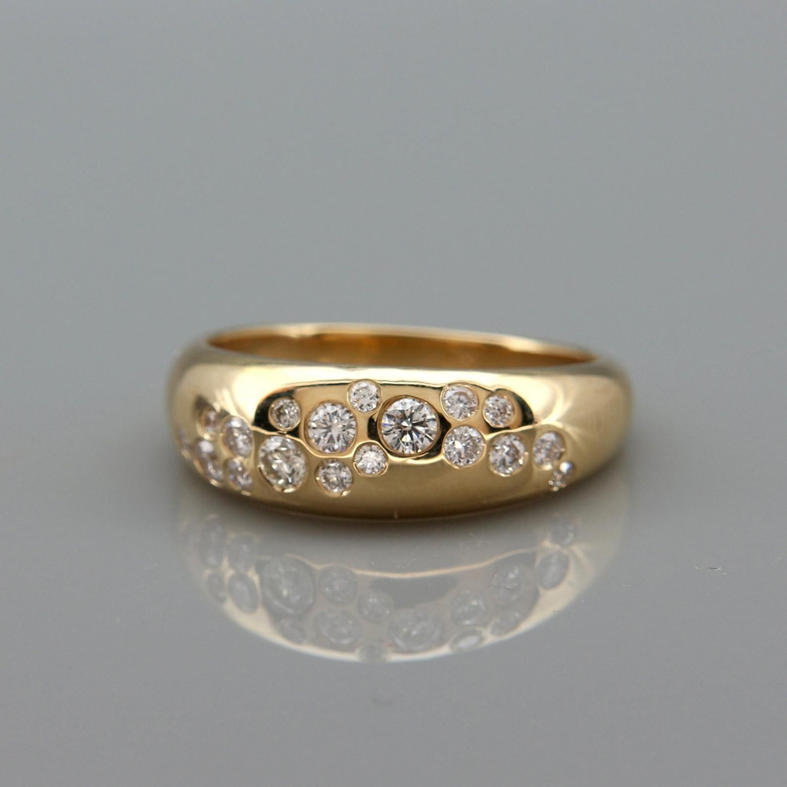 Diamond Cluster Ring 14k Solid Gold Wide Wedding Band set