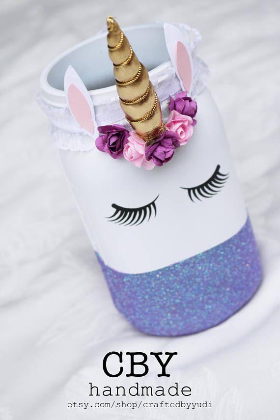 Unicorn centerpieces Glass Jar // unicorn party supplies | Birthdays ...