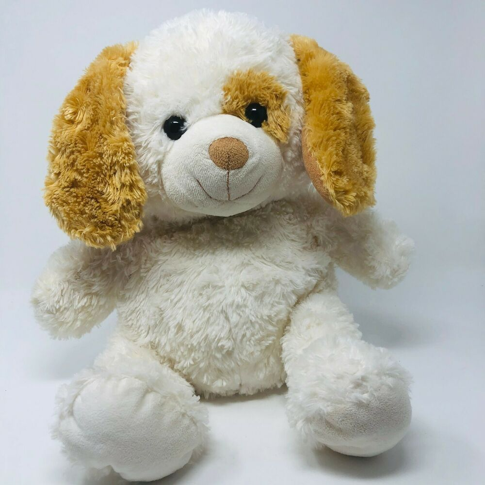 Walmart Plush 14 Inch Puppy Dog White Light Brown Stuffed Animal