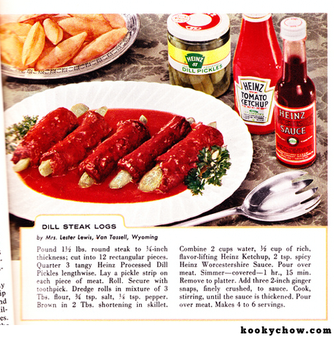 Dill Steak Logs. Thank Mrs. Lester Lewis of Wyoming for this one.
