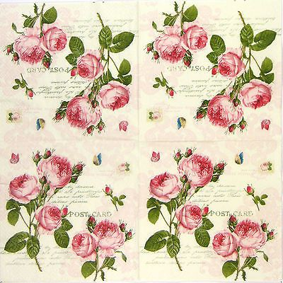 4x Single Party Paper Napkins for Decoupage Decopatch Craft Vintage Rose Mix